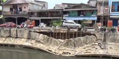 Turap Kali Sunter Longsor di Saat Jakarta Siap-siap Banjir