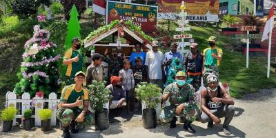 Satgas Yonif MR 413 Dirikan Pondok dan Pohon Natal di Kampung Baburia