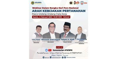 Webinar HPN, Kementerian ATR/BPN Sosialisasikan Arah Kebijakan Pertanahan Pasca UU Cipta Kerja