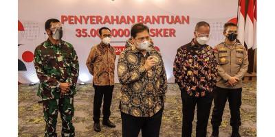 Airlangga Hartarto: Pemerintah Distribusikan 35 Juta Masker untuk Masyarakat