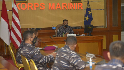 Kasal Rapat  Rencana Latihan Armada Jaya, Dankormar Ikuti Secara Virtual