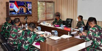 Dankormar Hadiri Vicon Panglima TNI Tentang Pelaksanaan Program Percepatan Vaksinasi di Lingkungan TNI