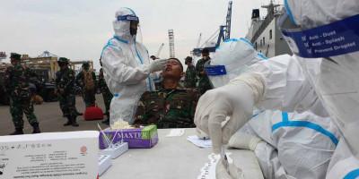 Jelang Latihan Armada Jaya, Tim Aju Korps Marinir Swab Test Antigen