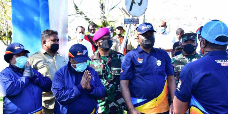 Komandan Pasmar 3 Ikuti Pelepasan Kirab Api PON XX Papua Tahun 2021
