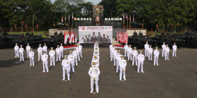 Secara Vicon Dankormar Mengikuti Upacara HUT TNI Ke 76